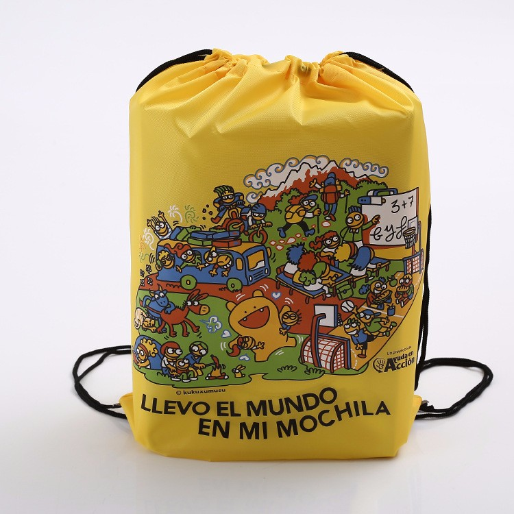 Full color imprint polyester drawstring bag