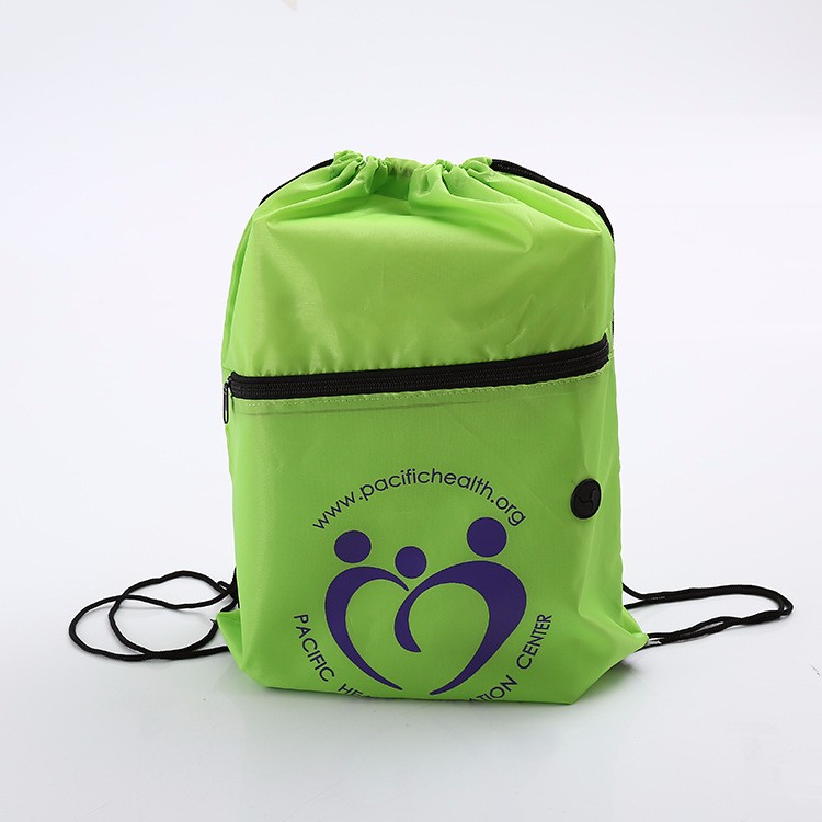 Nylon drawstring bag with front zipper pocket