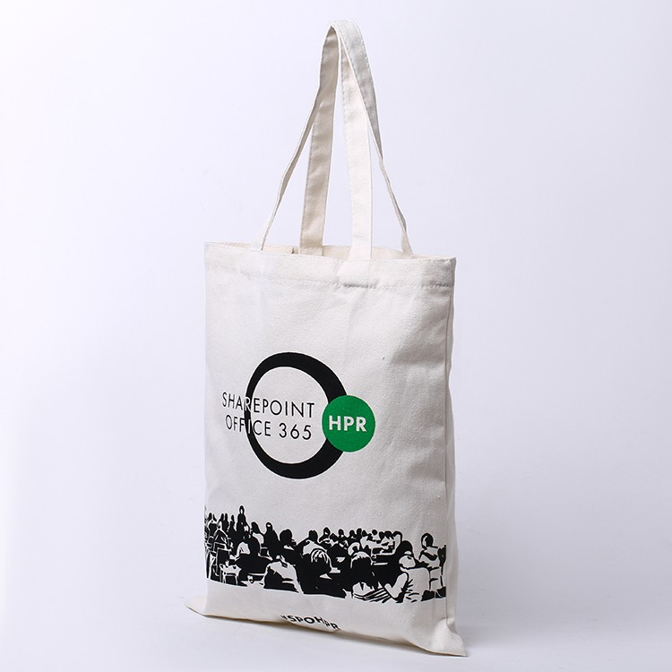 Custom logo cotton canvas tote shopping bags