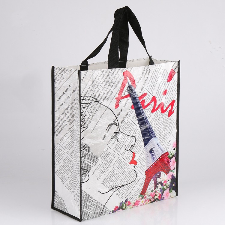 Full side printed pp woven eco-friendly reusable shopping bag