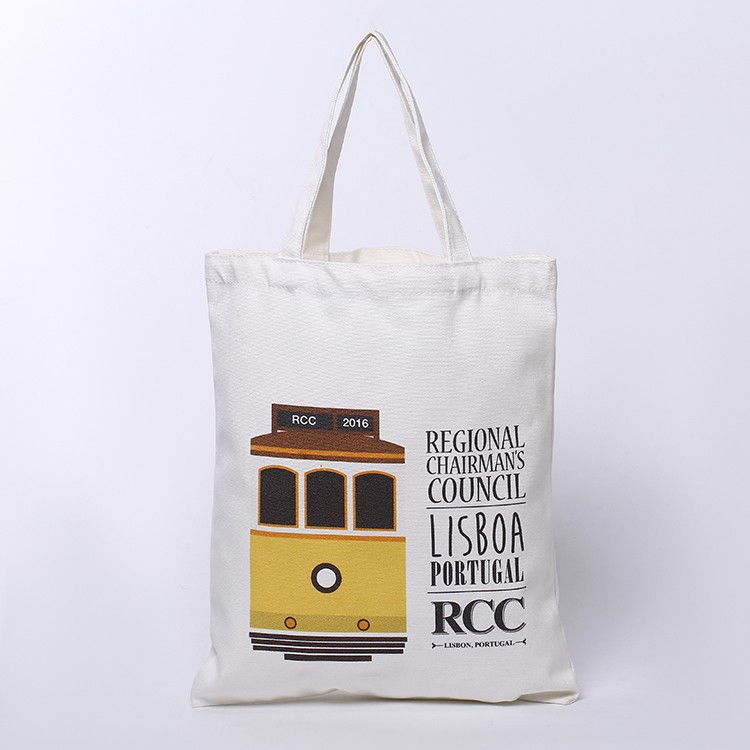 Organic custom logo printed cotton canvas shopping bag