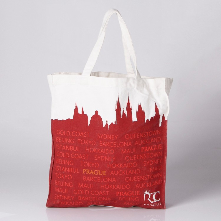 Fashion full color logo printed cotton canvas shopping tote bag