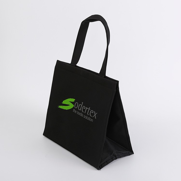 Black polyester insulated cooler bag