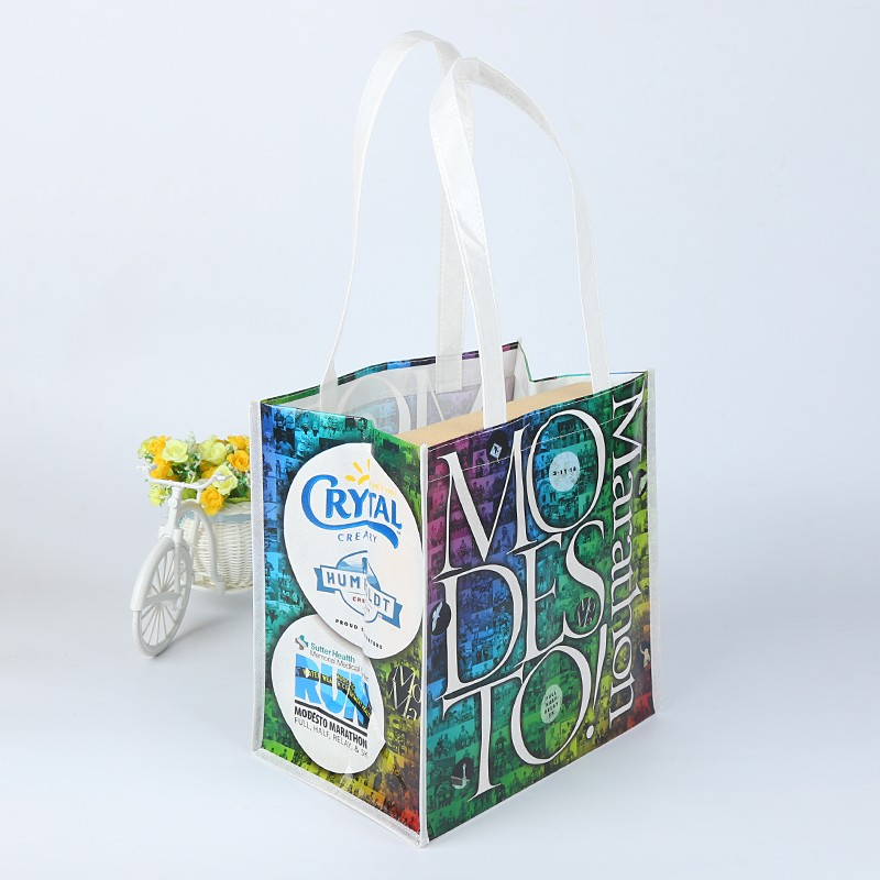 full color imprint glossy finished laminated non woven bag